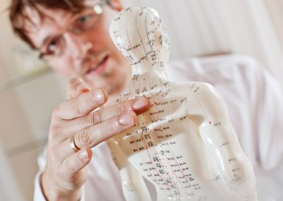 Heilpraktiker André Weber mit einem Körpermodell zur Erklärung der Energieströme entsprechend der Traditionellen Chinesischen Medizin (TCM)