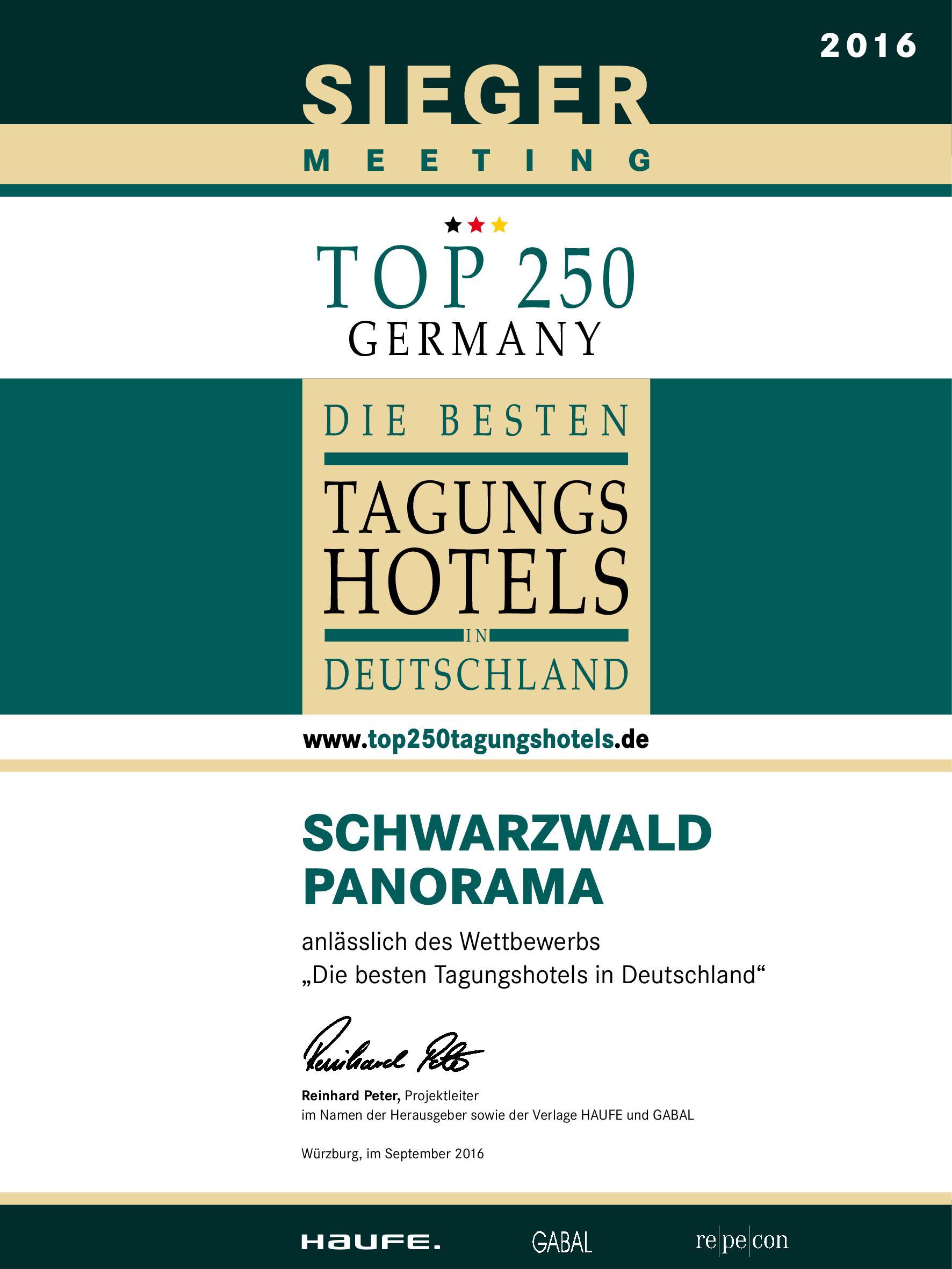 Zertifikat Top Tagungshotels Deutschland 2016 vom Schwarzwald Panorama - Sieger in der Kategorie Meeting