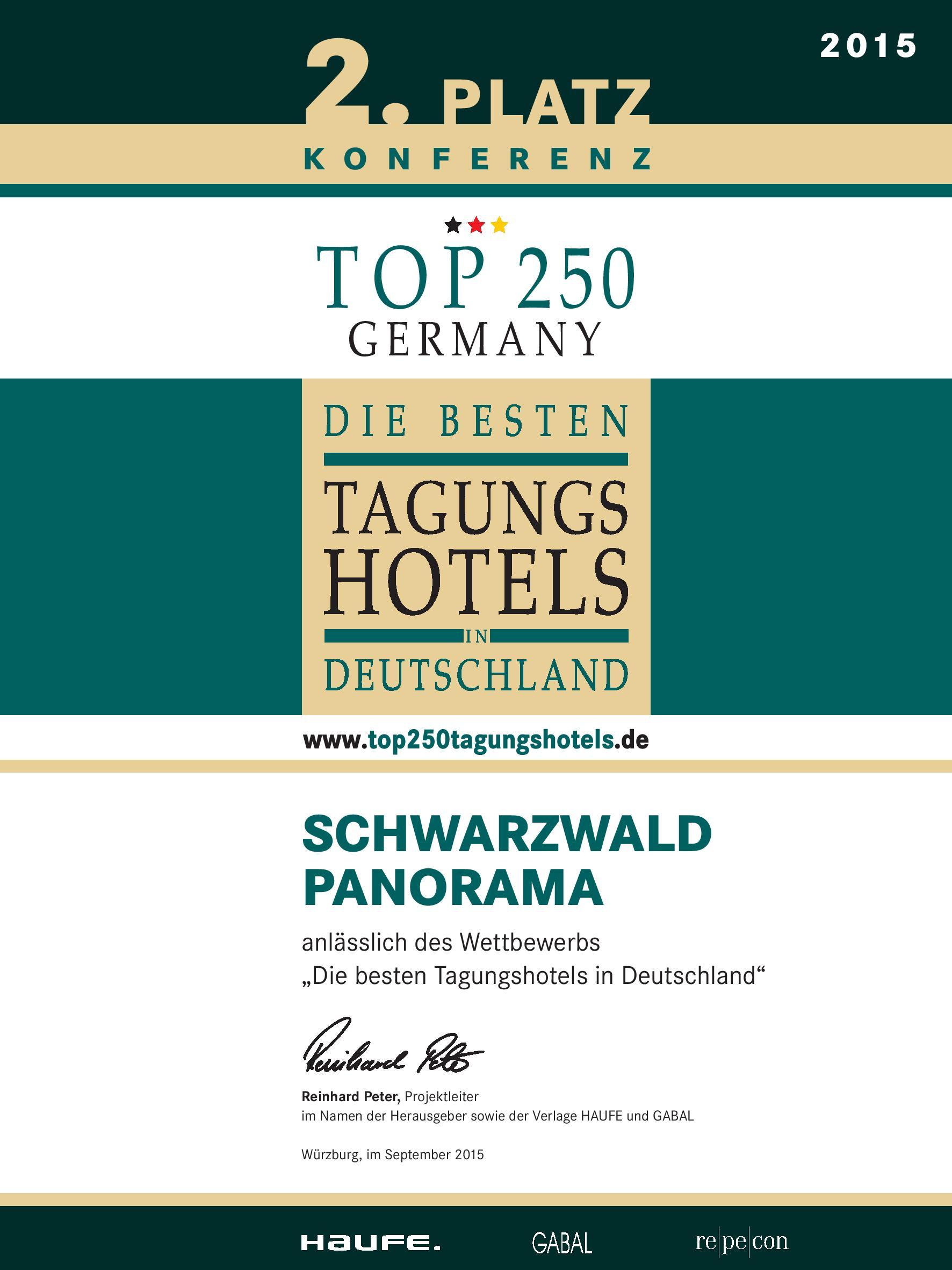 Zertifikat Top Tagungshotels Deutschland 2015 vom Schwarzwald Panorama - 2. Platz in der Kategorie Konferenz