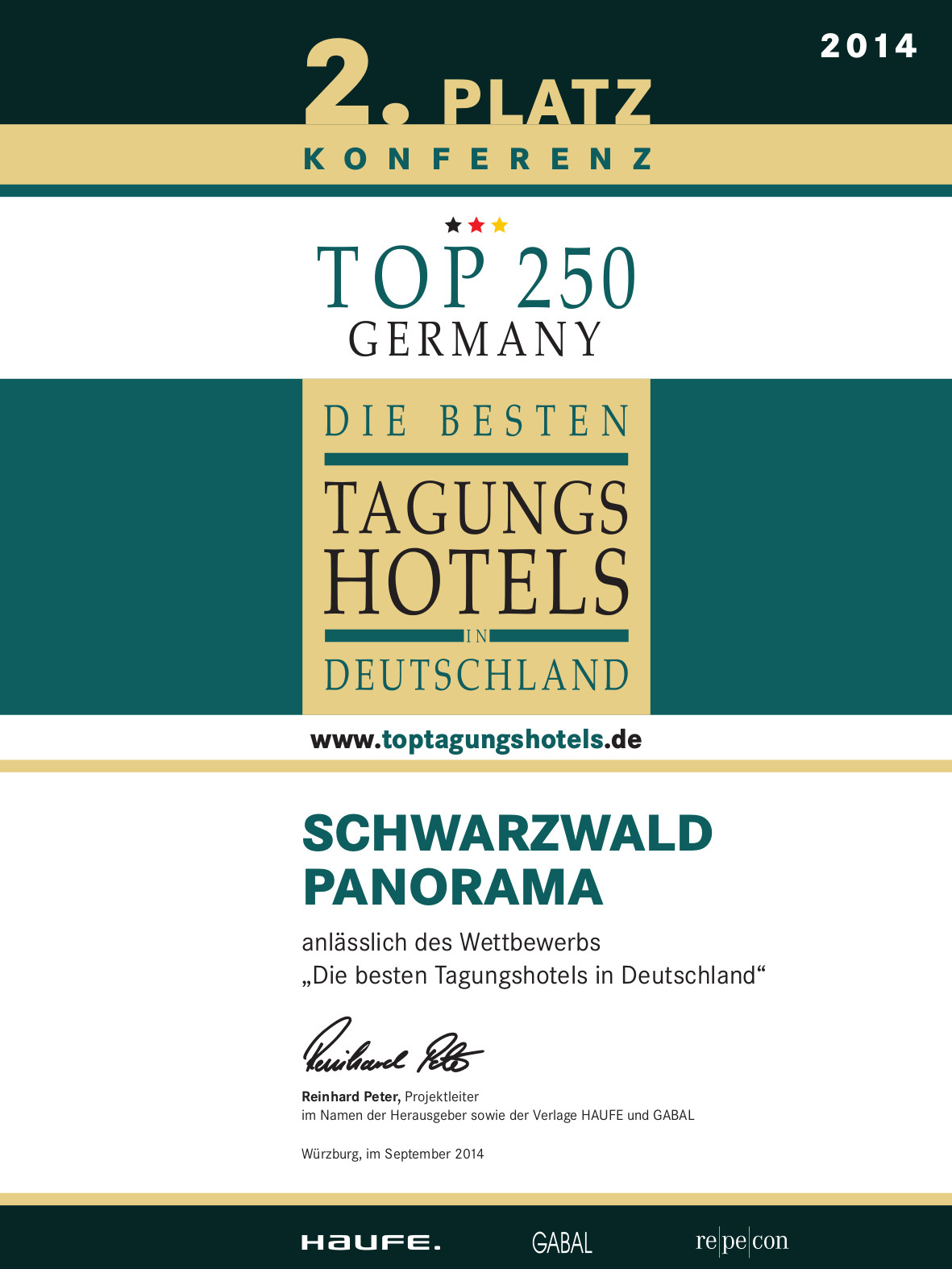 Zertifikat Top Tagungshotels Deutschland 2014 vom Schwarzwald Panorama - 2. Platz in der Kategorie Konferenz