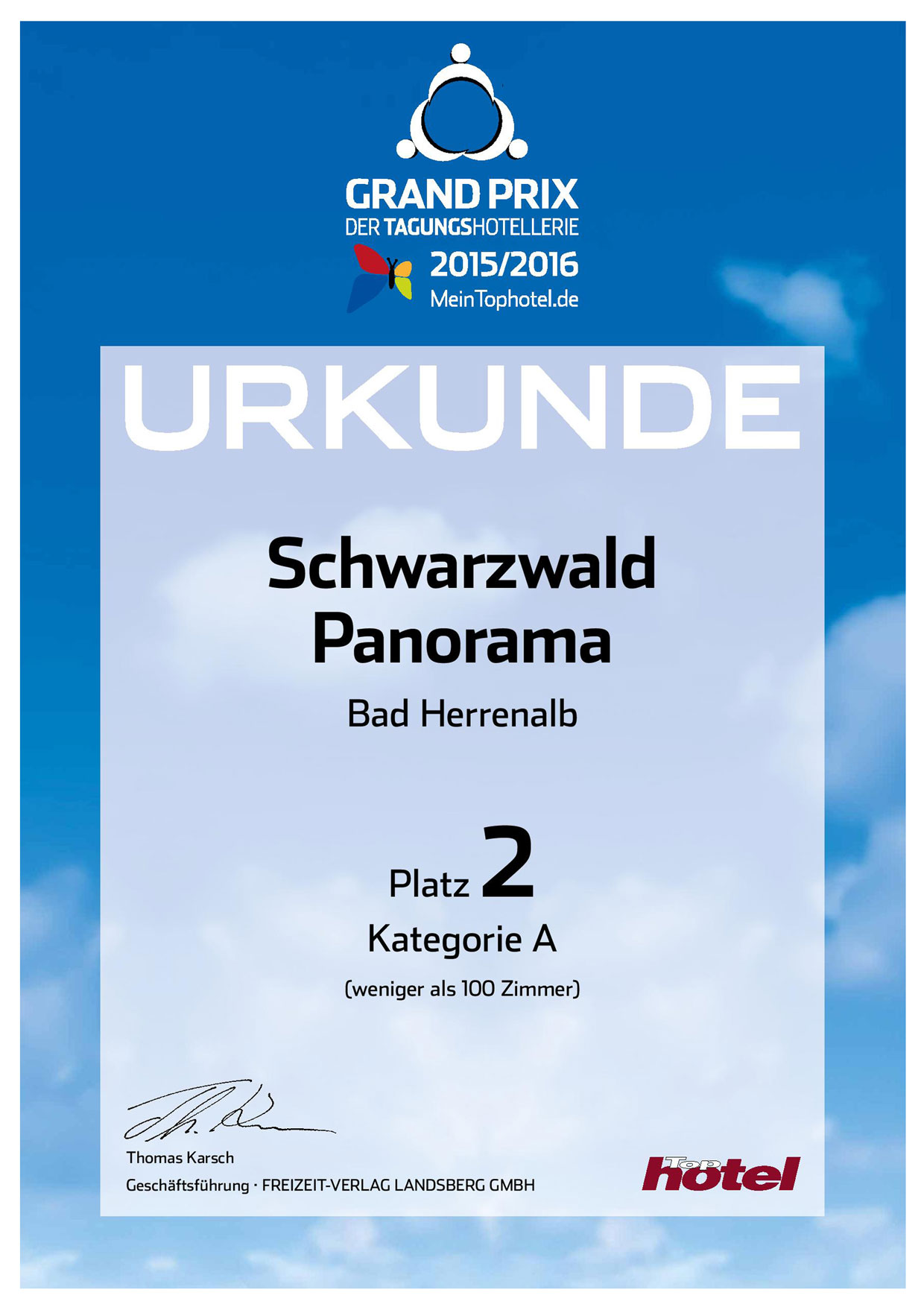 Urkunde 2. Platz Grand Prix der Tagungshotellerie 2015/2016 vom Tagungshotel Schwarzwald Panorama