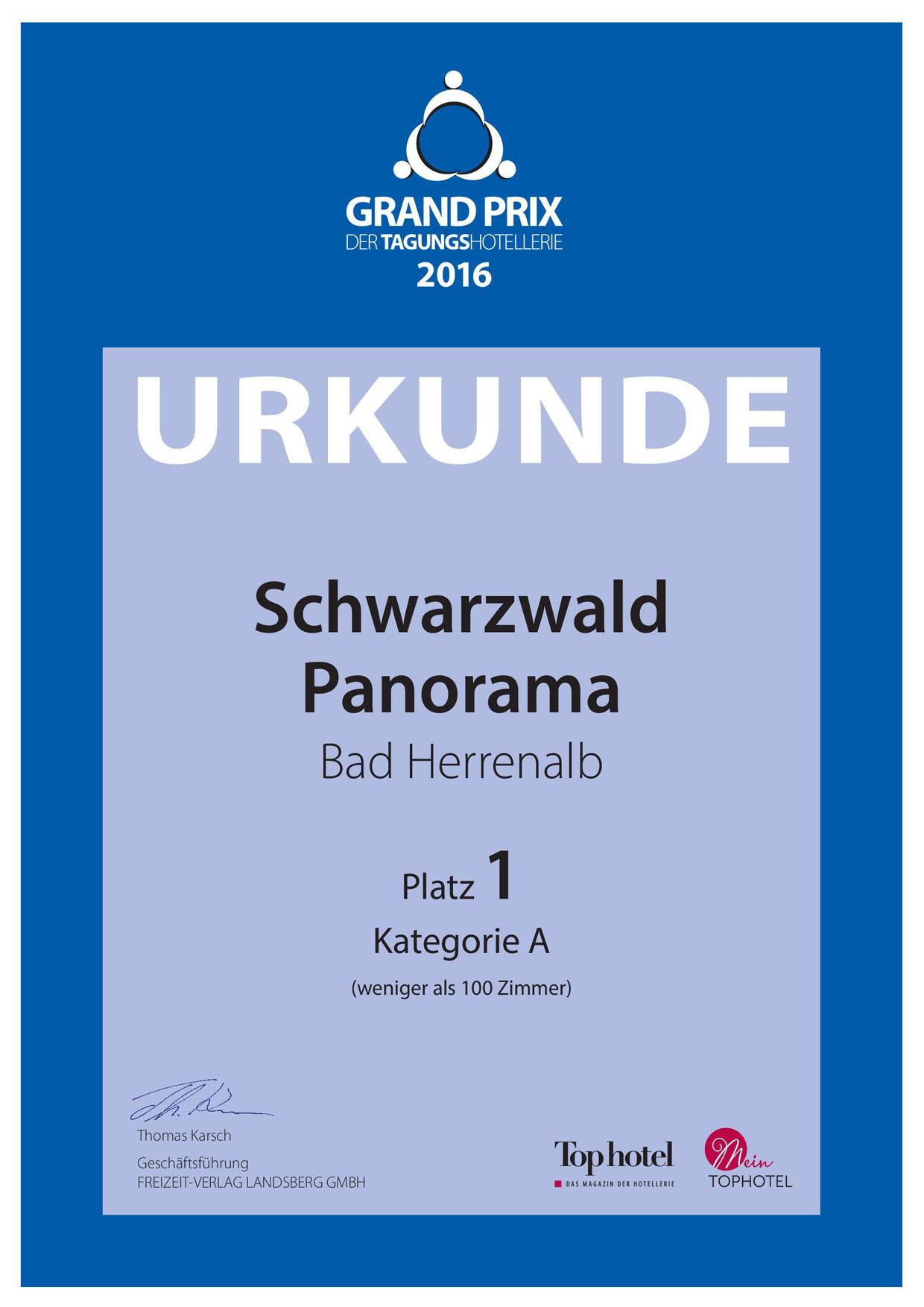 Urkunde 1. Platz Grand Prix der Tagungshotellerie 2016/2017 vom Tagungshotel Schwarzwald Panorama