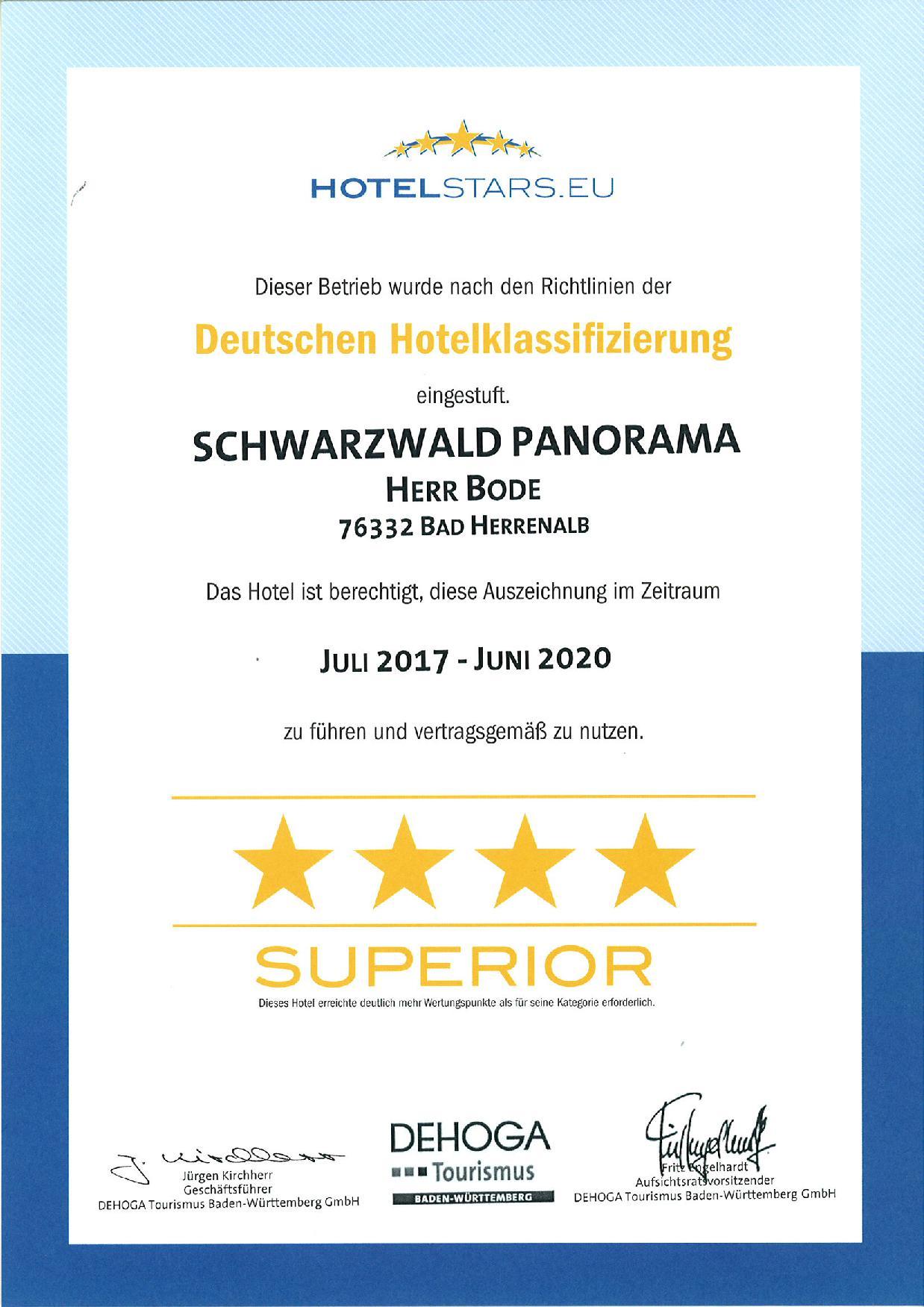 DEHOGA Zertifikat 2017 bis 2020 Deutsche Hotelklassifizierung für Schwarzwald Panorama