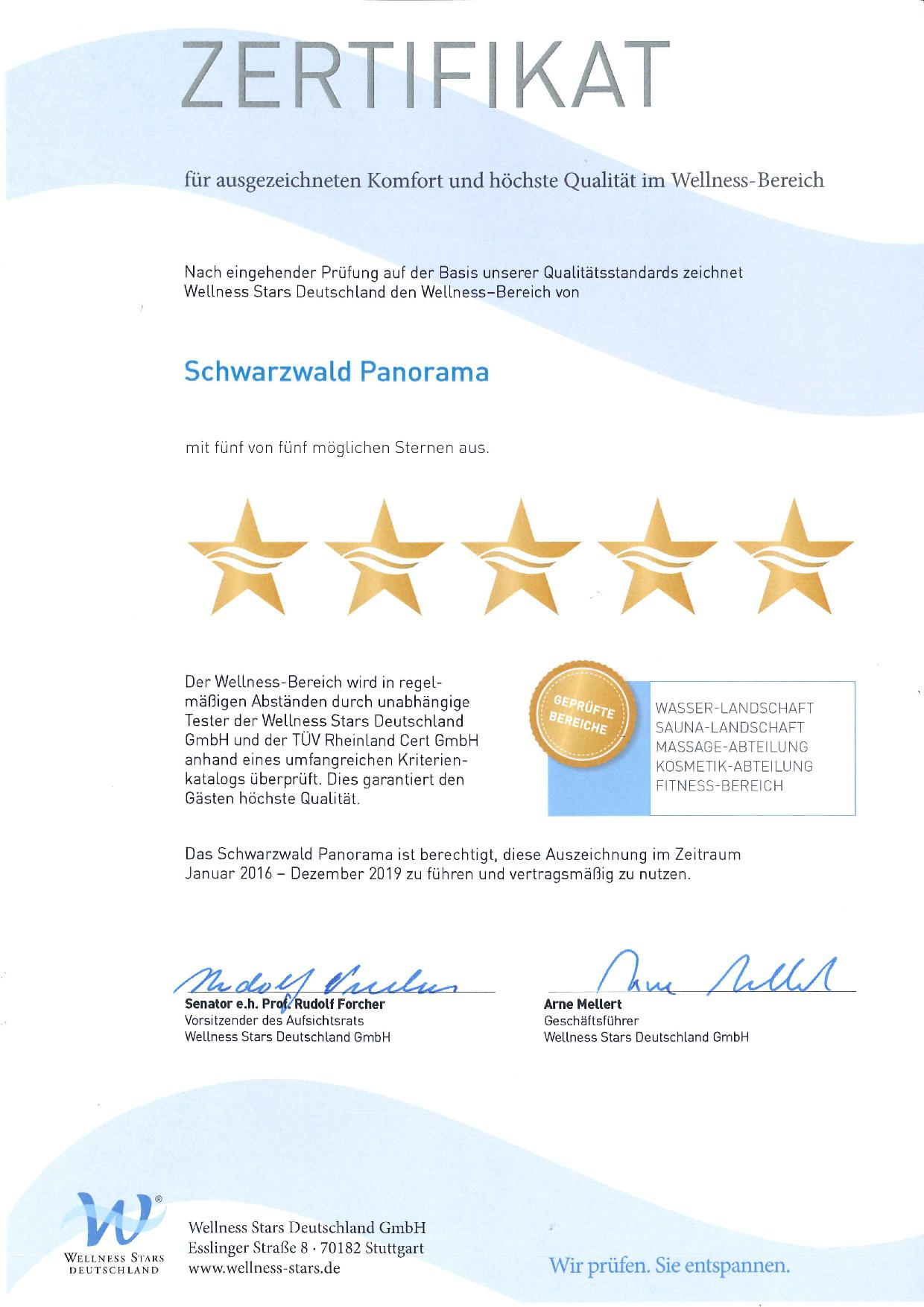 Zertifikat Wellness Stars GmbH 2014