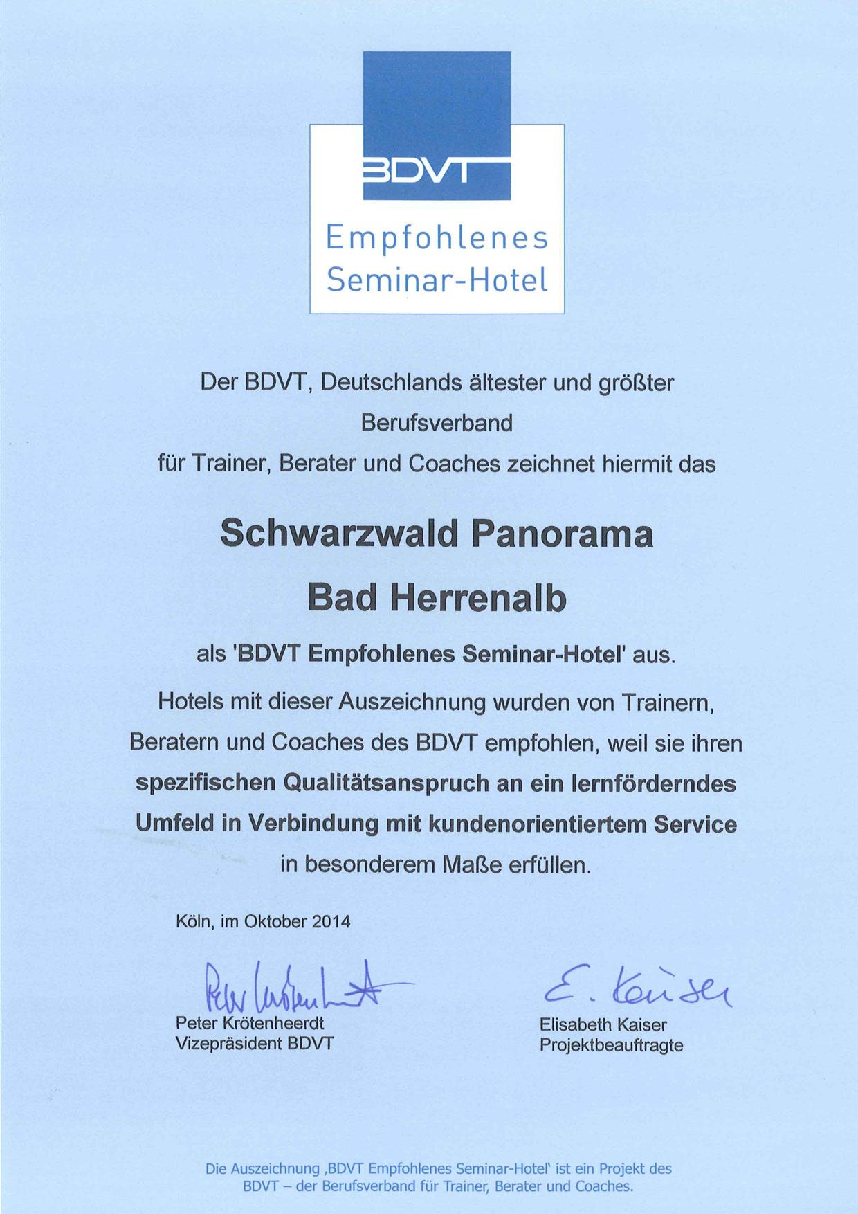BDVT Zertifikat 2014