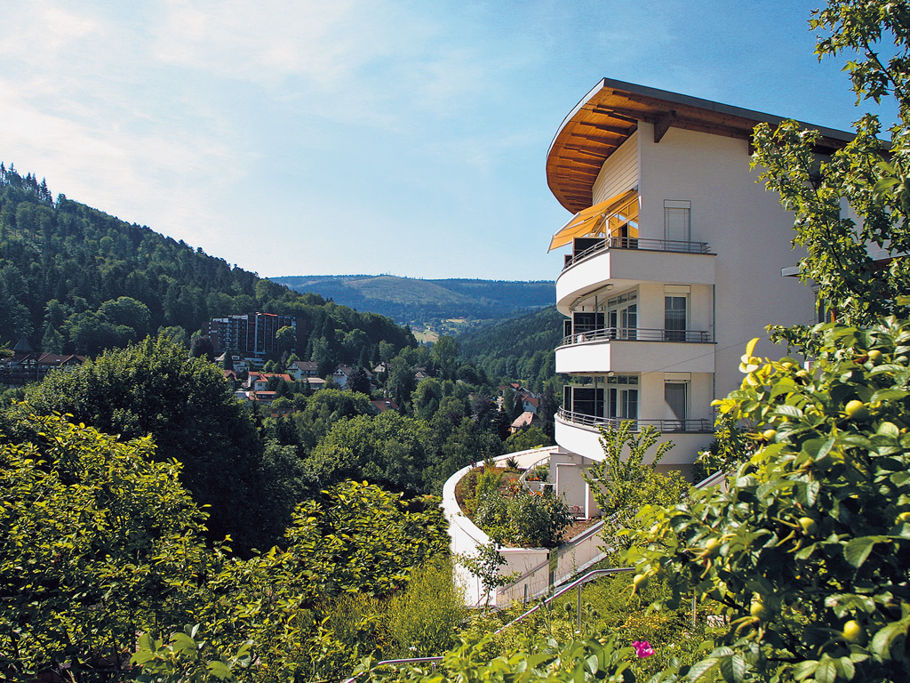 The hotel SCHWARZWALD PANORAMA peaking out of the dense trees, that make up the black forest. Above the scenery is a cloudy, but blue, sky