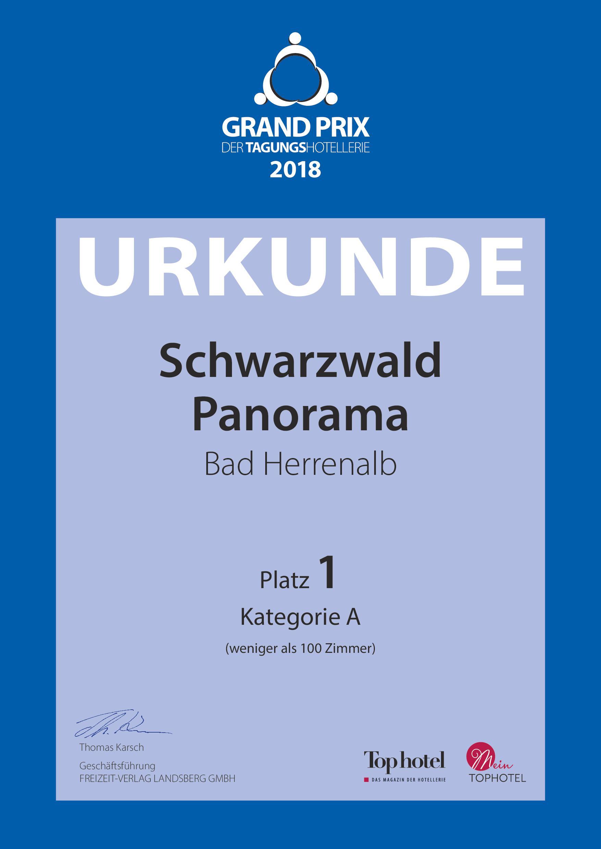 Zertifikat Top Tagungshotels Deutschland 2017 vom Schwarzwald Panorama - Sieger in der Kategorie Meeting