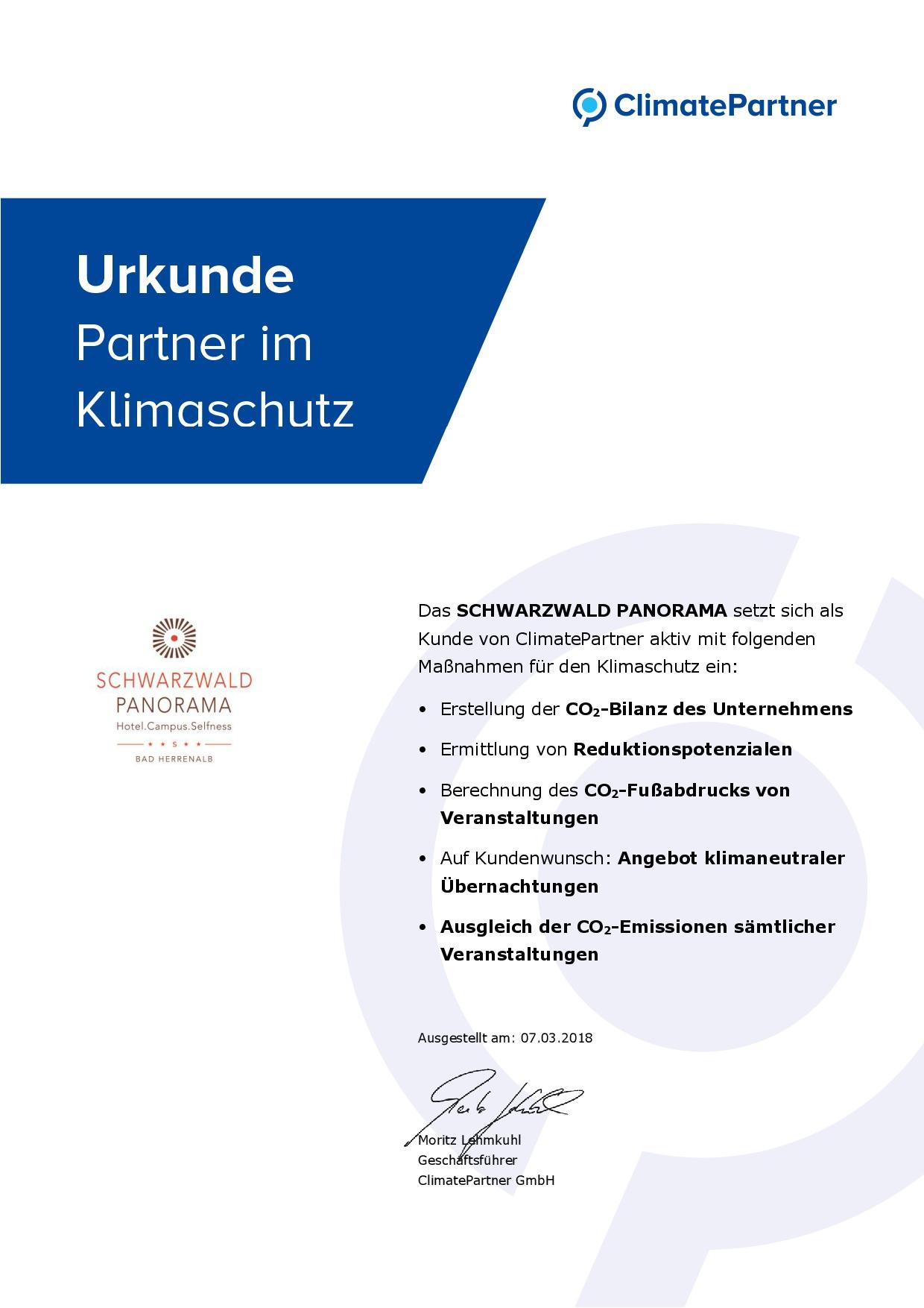 Zertifikat ClimatePartner für Schwarzwald Panorama Partner im Klimaschutz 2018