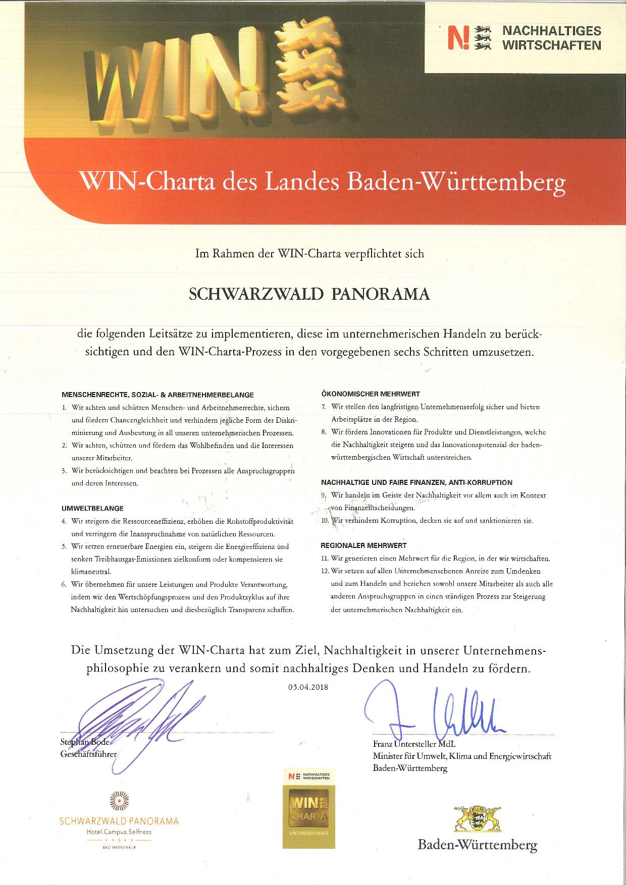 Zertifikat WIN Charta Baden-Württemberg für Hotel Schwarzwald Panorama für Nachhaltiges Wirtschaften