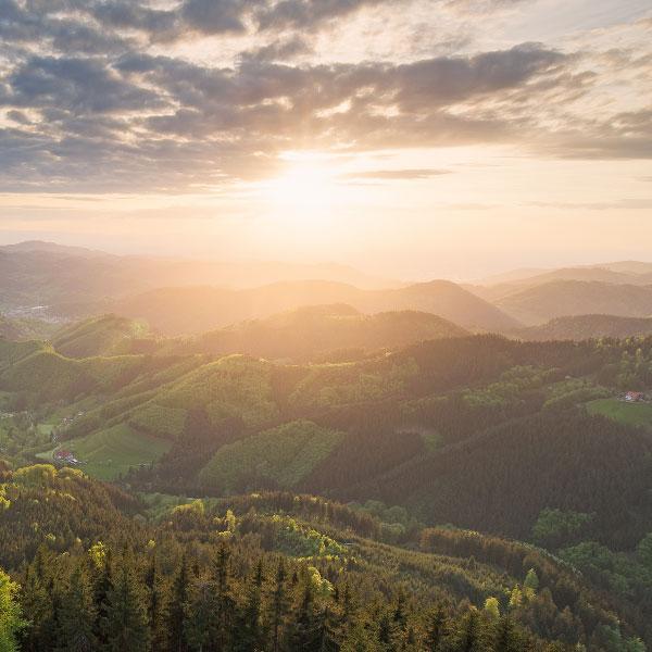 Landschaft mit Wäldern und Bergen im Schwarzwald