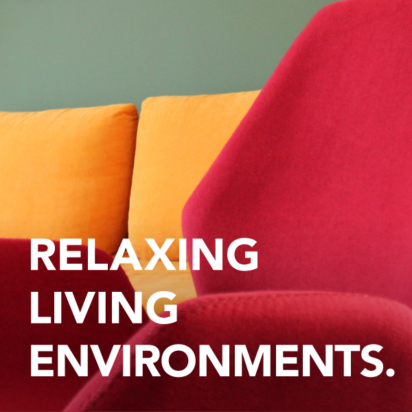Relaxing living environments with detail of a couch