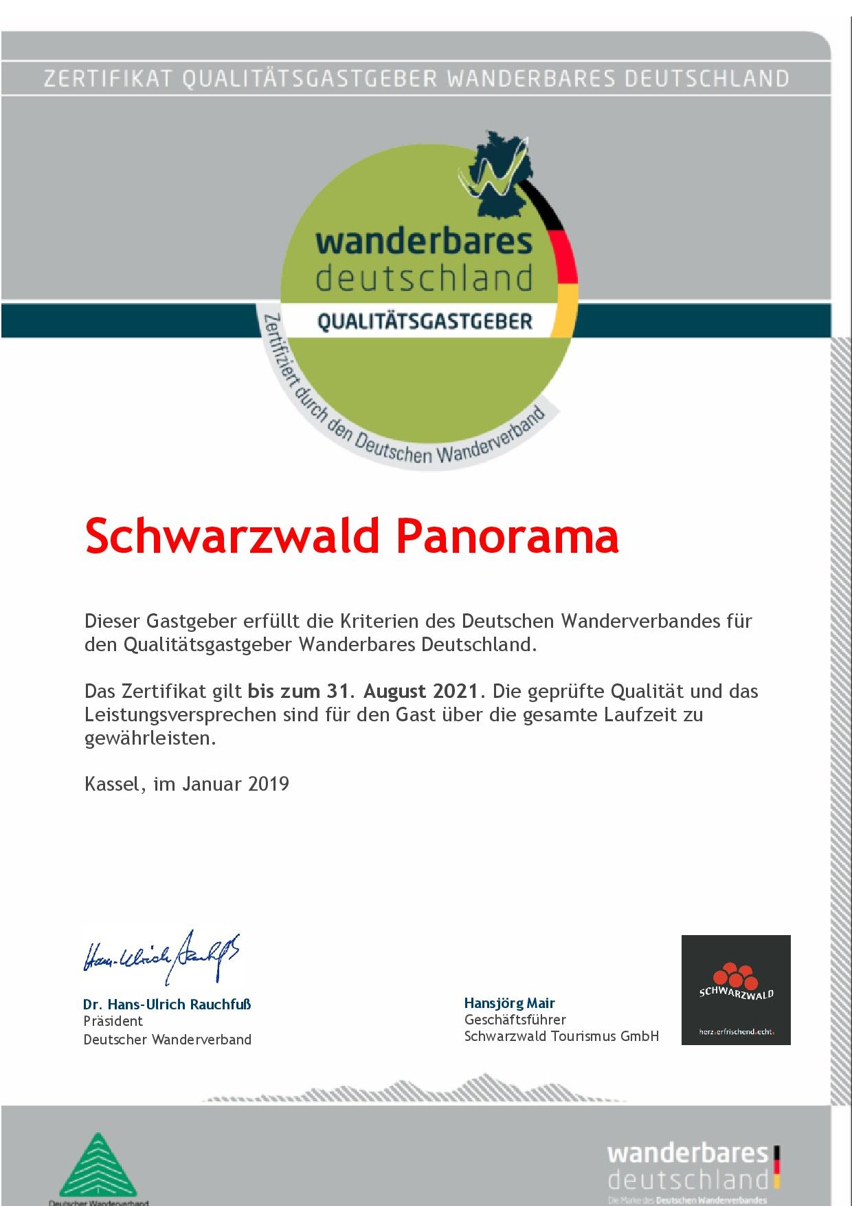 Zertifikat Qualitätsgastgeber Wanderbares Deutschland (bis 2018)