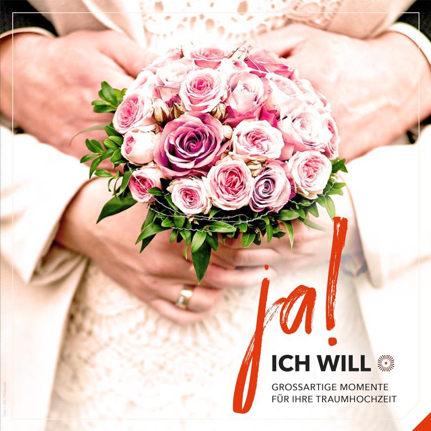 Titelseite der Hochzeitbroschüre vom Schwarzwald Panorama: Ja! Ich will. Großartige Momente für Ihre Traumhochzeit