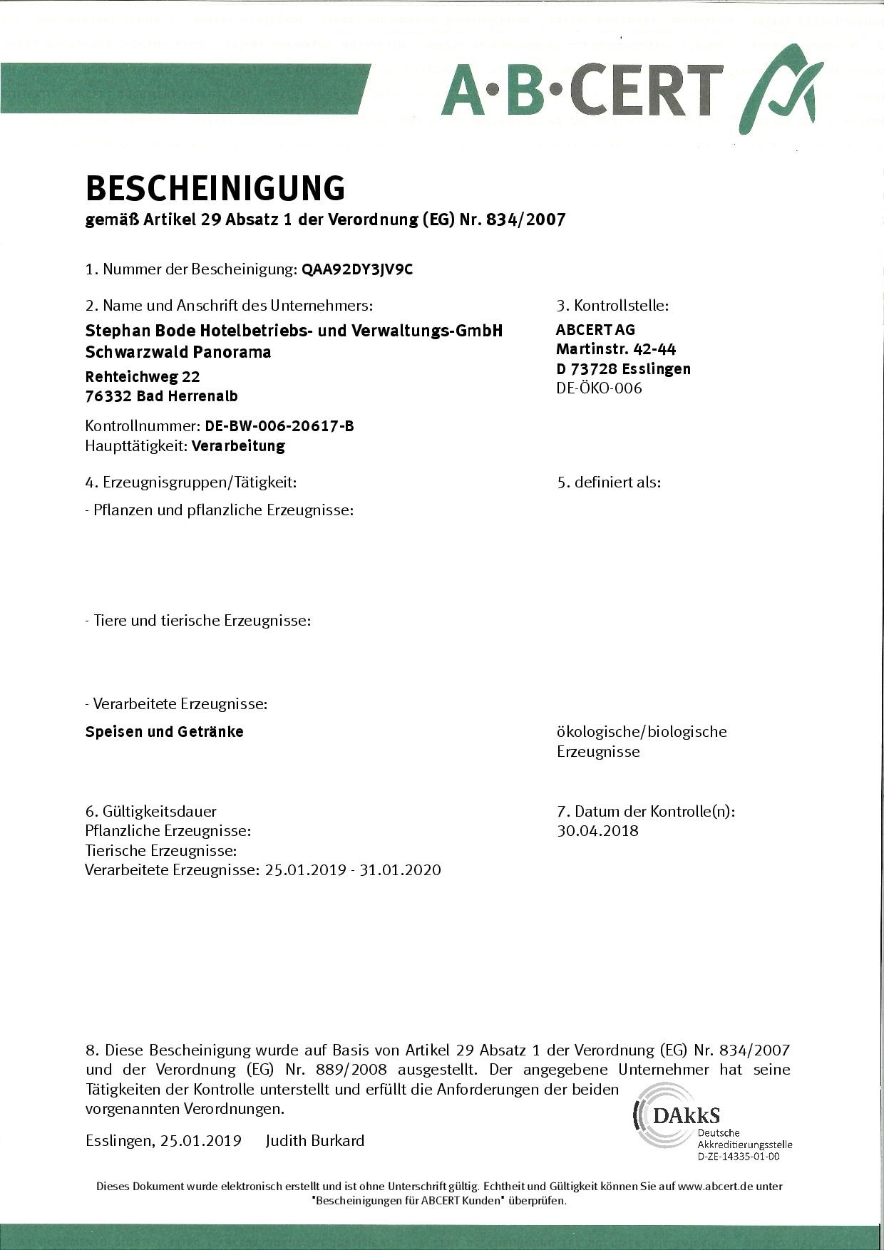 ABCert 2018 Bescheinigung Hotel Schwarzwald Panorama für die Verarbeitung biologischer Speisen und Getränke
