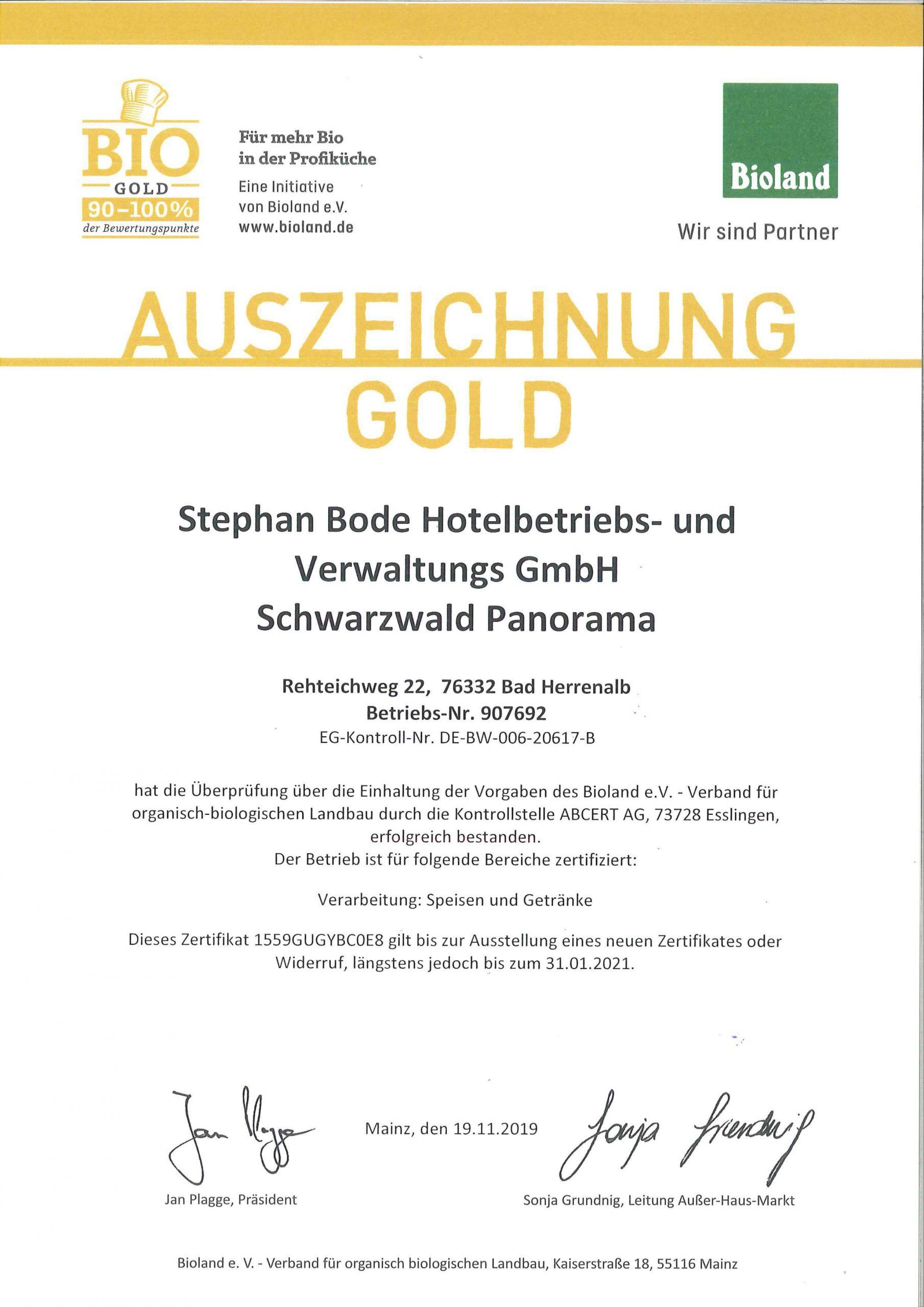 Bioland Zertifikat 2019 für das Hotel Schwarzwald Panorama der Stephan Bode Hotelbetriebs- und Verwaltungs-GmbH